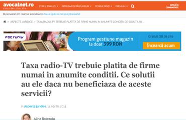 Taxa radio-TV trebuie platita de firme numai in anumite conditii. Ce solutii au ele daca nu beneficiaza de aceste servicii?