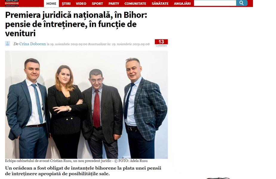 Premiera juridică națională, în Bihor: pensie de întreținere, în funcție de venituri